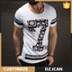 Customizable Fashion Short Sleeve T-Shirts Without Collar