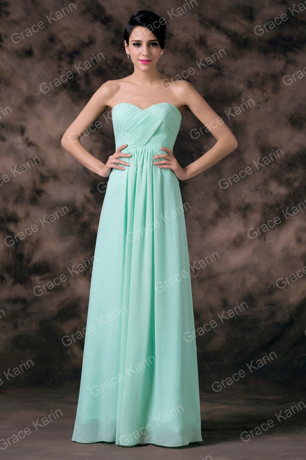 Grace Karin Elegant Pale Turquoise Chiffon Floor Length ...
