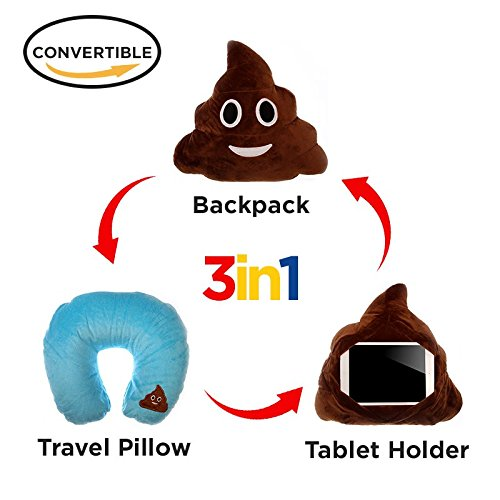 3 in 1 Poop Emoji Pillow Poo iPad Holder Backpack Travel Neck Pillow Smiley Emoticon Cushion Stuffed Soft Plush Toy