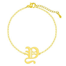 QIAMNI начальный Алфавит шрифт W браслет для женщин из нержавеющей стали Многоцветный Старый Английский A-Z браслеты браслет подарок Шарм(Китай)