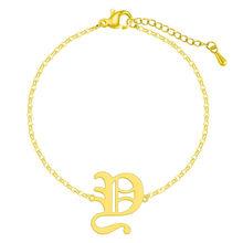 QIAMNI Старый Английский алфавит E письмо браслет для женщин из нержавеющей стали Многоцветный шрифт капитал A-Z начальный браслет подарок(Китай)