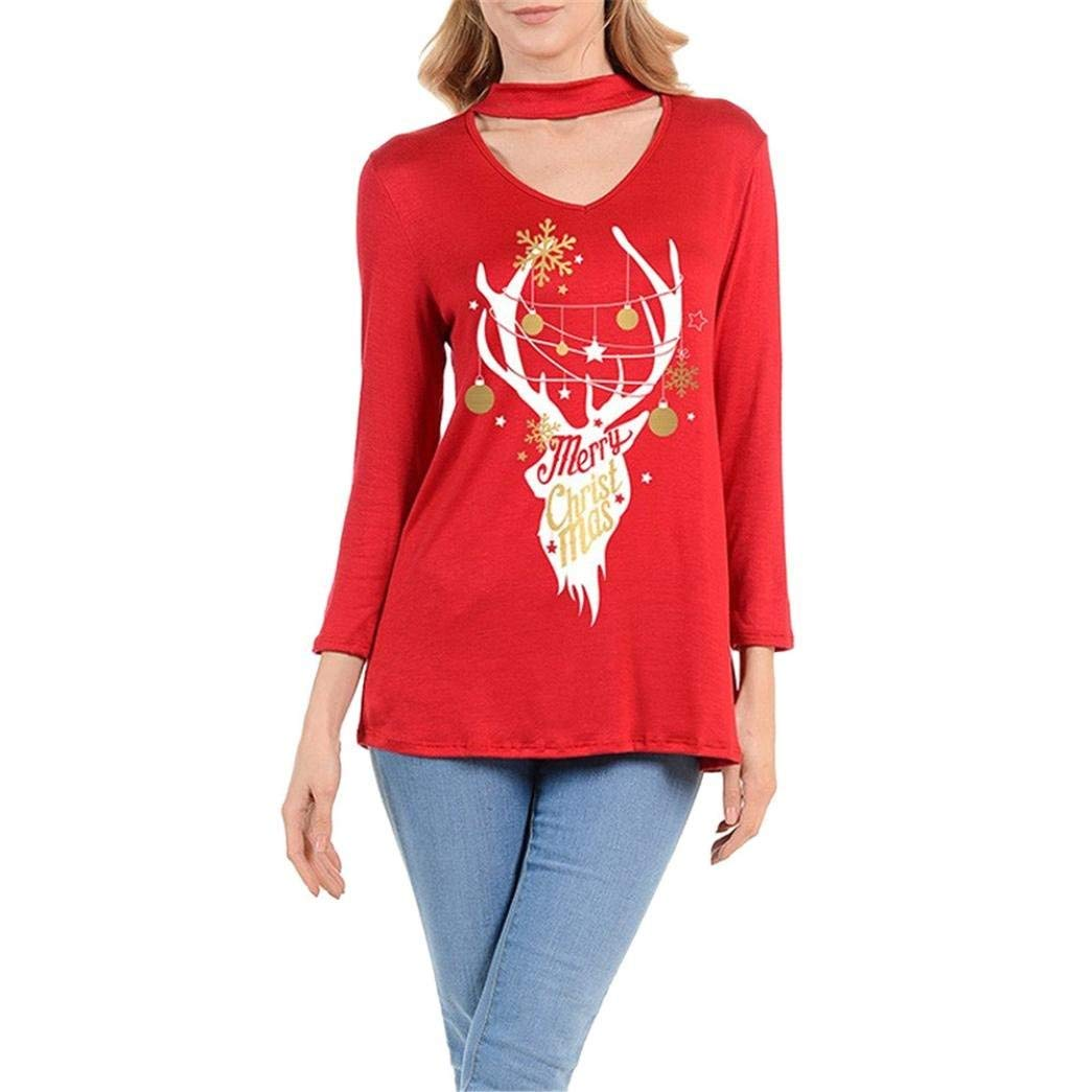 Snowfoller Womens Christmas Elk Printed V-Neck Choker Design Long Sleeve T-Shirt Autumn Casual Sexy Ladies Loose Tops Blouse (M, Red)