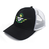 Custom 6 panel applique black mesh brand trucker hat with patch