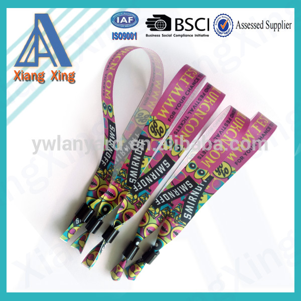 Full Color Printed Satin Fabric Bands Woven Fabric Wristband