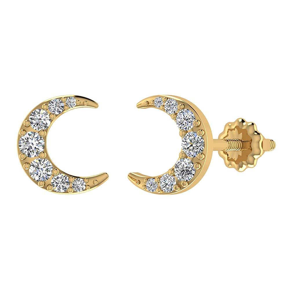 Moon Crescent Shape Pavé Diamond Earrings 0.48 ctw 14K Solid Gold (I,I1)