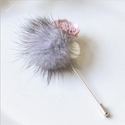 Unique Design Hat Sweater brooch pins Jewelry New Women fur ball Brooch Fashion Leather Pink Flower Mink Pin Brooch