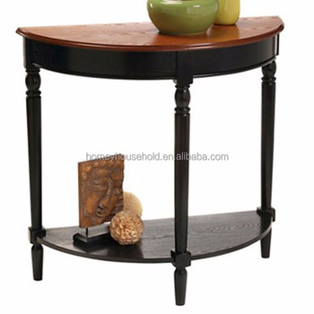 Half Round Modern Wood Wall Side Table High Gloss Console With Storage Shelf