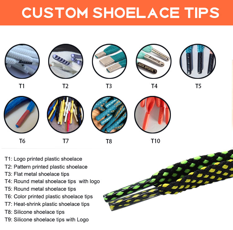 Fashion Multi-Color Polyester Oval Half Round Shoelaces With Plastic/Metal Aglets