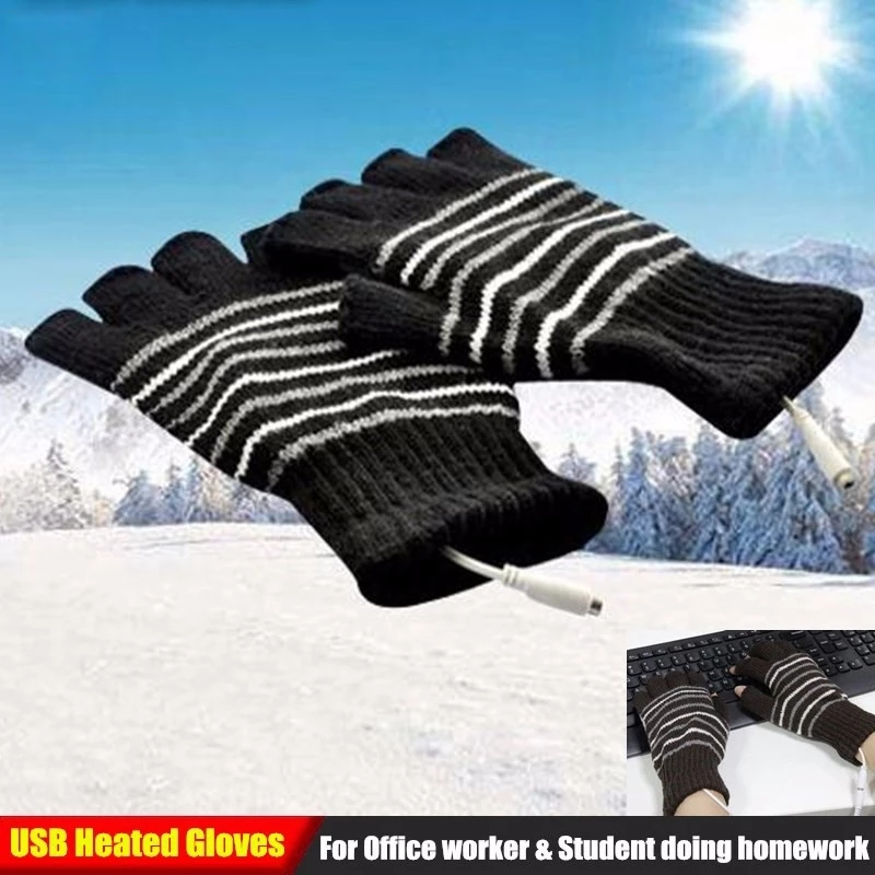 New Design Winter USB Heating Gloves Workroom Knitted Heated Fingerless Glove