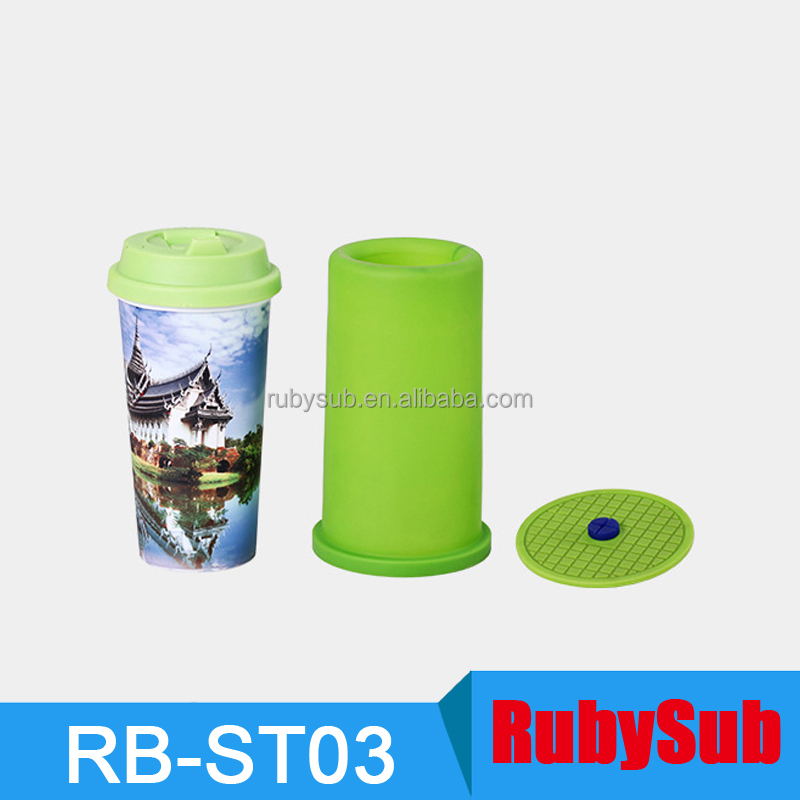 Plastic Straight Water Bottle 3D Sublimation Silicon Mug Wrap Rubber Mug Cup Clamp Mold for 3D Sublimation Vacuum Machine ST1520