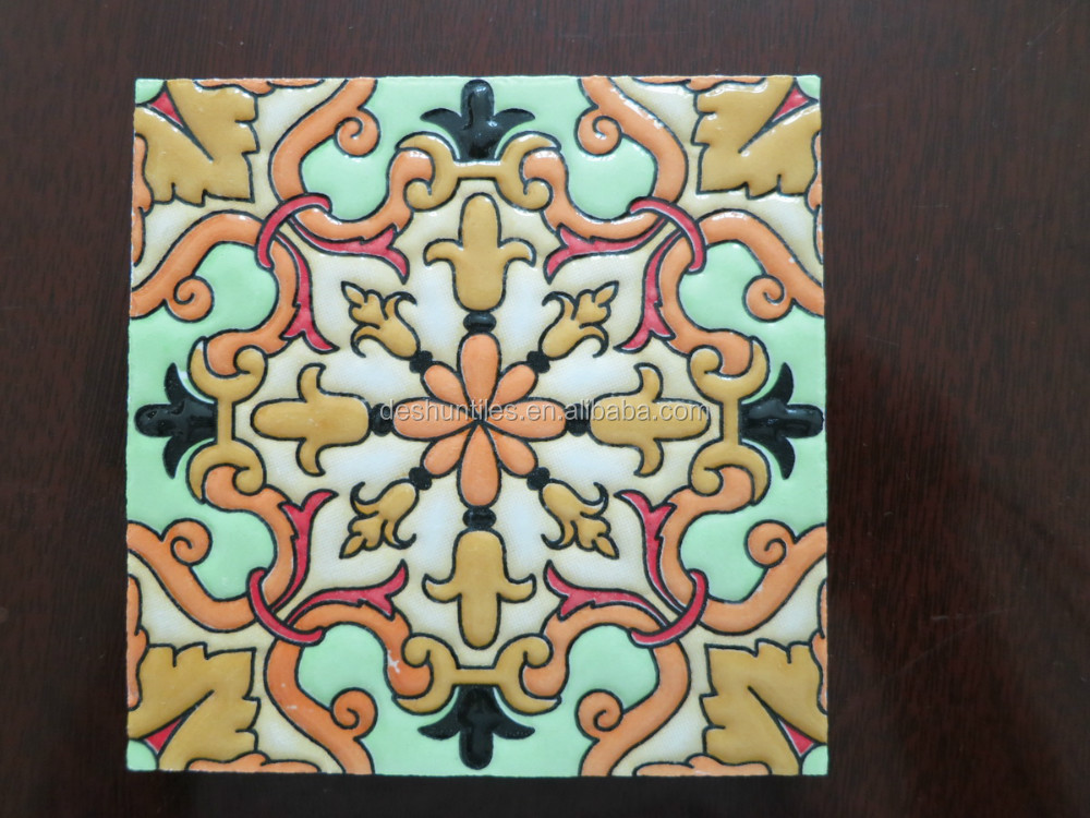 10 10cm Small Piece Decorative Ceramic Wall Tile Encaustic With Diffe Designs Patchwork Tiles Spain Style Hot