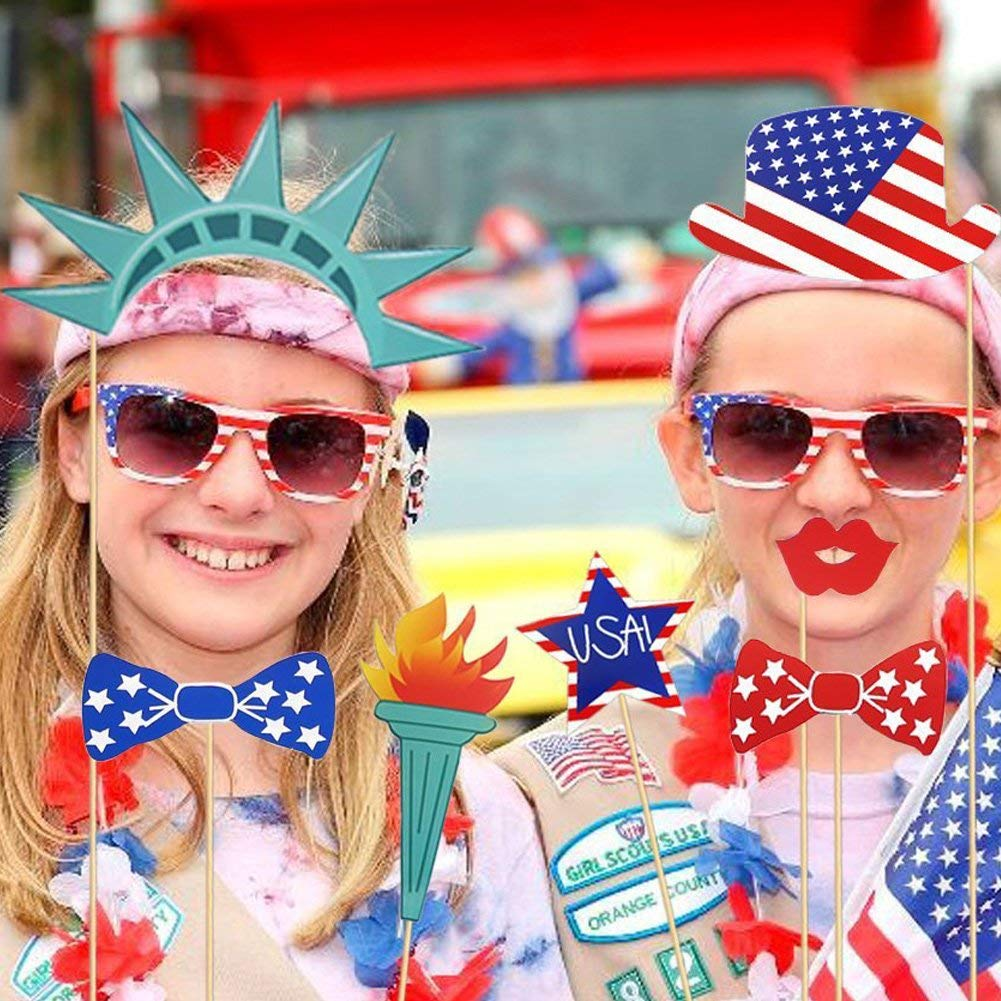 4th of July4th of July Photo Booth Props Festival Party Decorations Gifts Supplies DIY Kit For America USA Independence Day Party Event Decorations For Independence Memorial Veterans Flag Day for Phot
