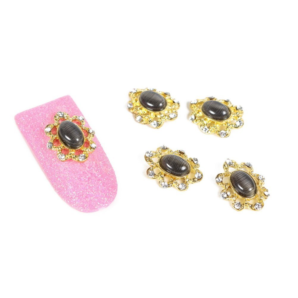 So Beauty Fashion Stunning Glitter Gold Bead Cap with Black Cat's Eye Nail Art DIY Decorations - 10 Pcs