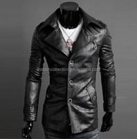 Spring large lapel single breasted jackets men quality washed leather Slim Long different color leather jackets