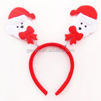 Cute Kids Christmas Dog Headband Holiday Animal Hair Accessories With Mini Hat