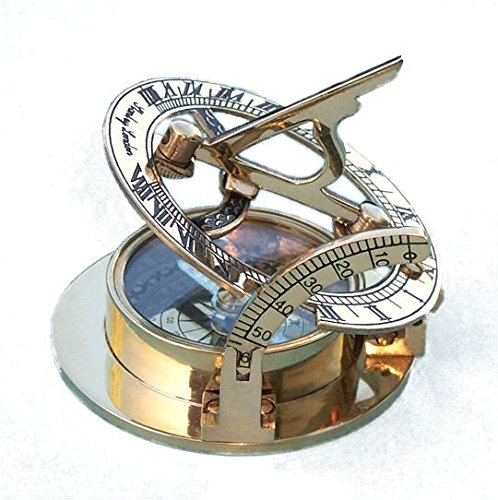 Engraved Brass Pocket Sundial Compass with Leather Case