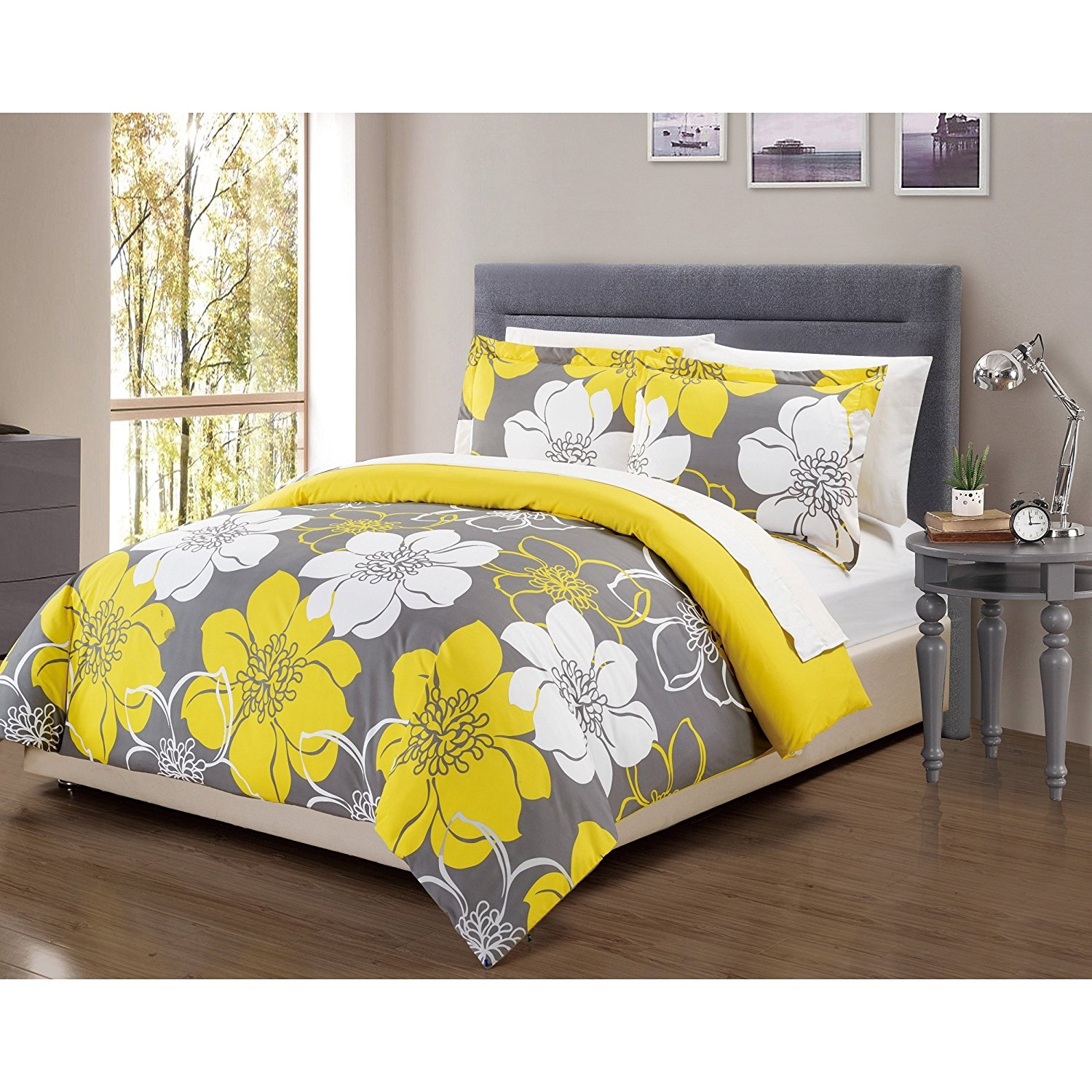 Buy 2 piece girls yellow white grey black floral theme duvet cover 2 piece girls yellow white grey black floral theme duvet cover twin set pretty chic mightylinksfo