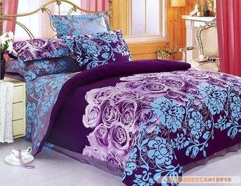 Purple Blue Flowers Design Queen Bed Quilt Comforter Duvet