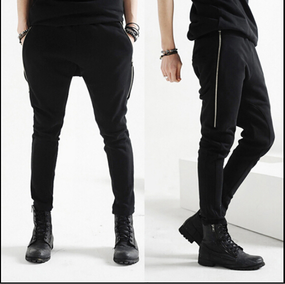 Harem pants for men with zippers