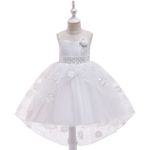 New Fashion Custom Flower Girl Dress White Colour With Sleeveless For Wedding Party T5117