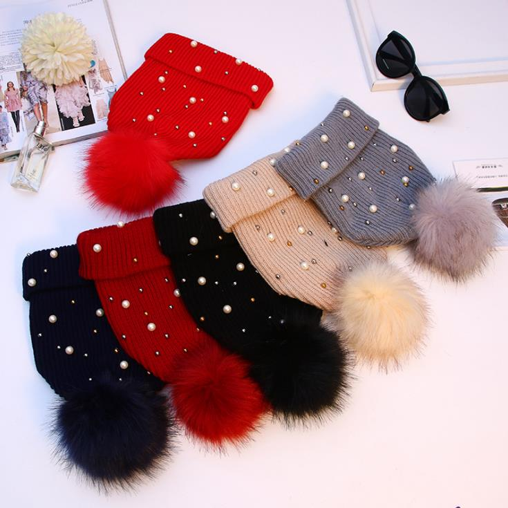 Beanie Hat Wholesale China Winter Women Knitting Hat Blue Rhinestone Pearl Beanie  Hats with faux fur pom poms 4be47019a187