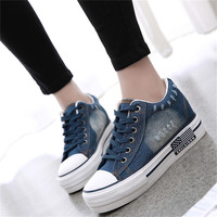 Fashion Thickened Denim Casual High Heel Shoes Women Shoestring Canvas Shoes