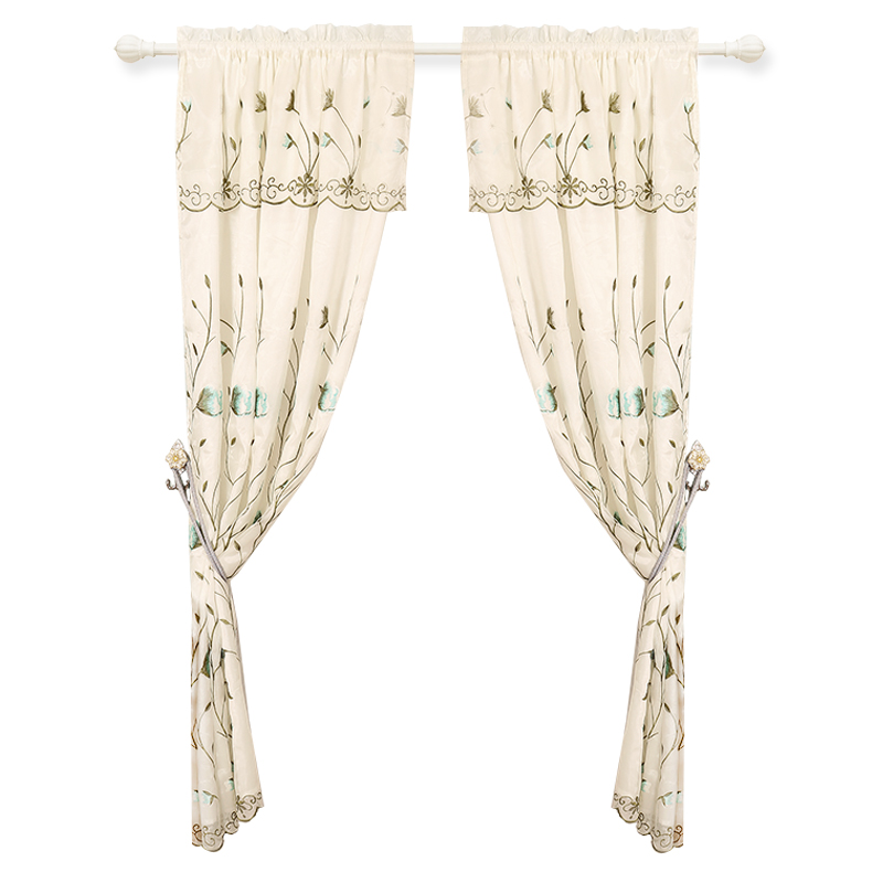 European White Sheer Modern Lace Curtains with Valance for Bedroom Window Curtains for Kitchen Embroidered Living Room Tulle