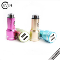 new portable dual usb car charger,universal 12V phone car charger with 2 port aluminum
