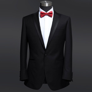 Men slim fit suit 70% wool one buttons shawl lapel black Tuxedos