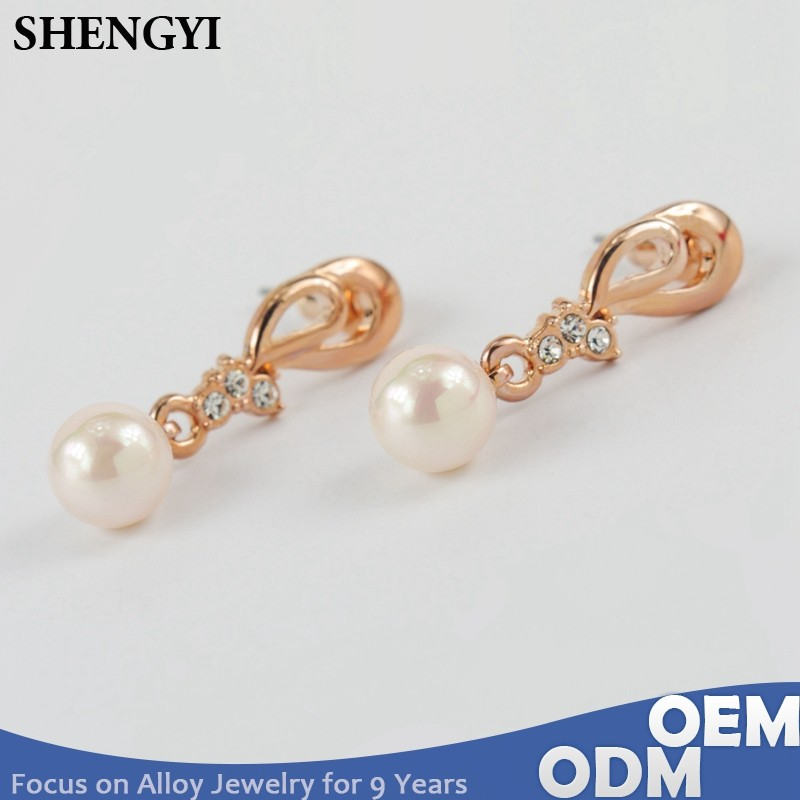 gold plated alloy artificial fresh water pearl earrings jewelry