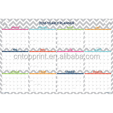 Offset paper printing dry erase laminated wall calendar