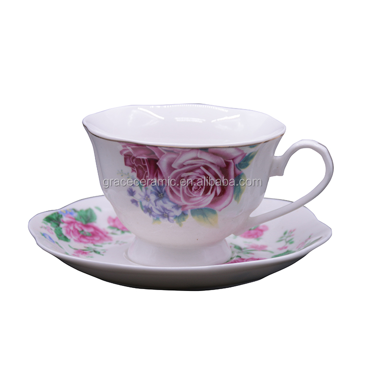 royal Rose flower russian porcelain breakfast cup and saucer floral coffee cup for party hotel restaurant Gift