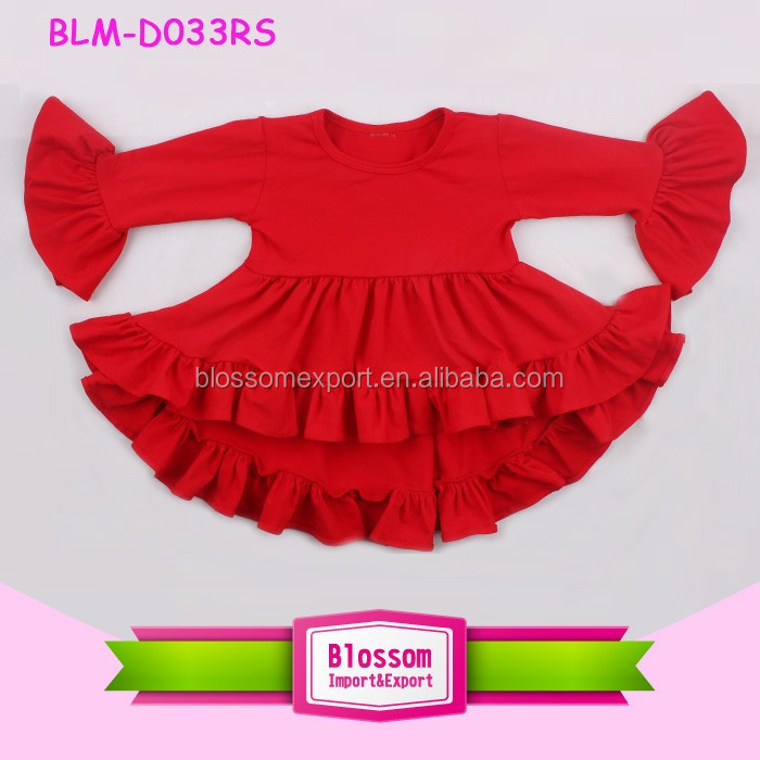Wholesale Baby boutique dresses girl clothing manufacture party tank top girl ruffle cotton high low top dress