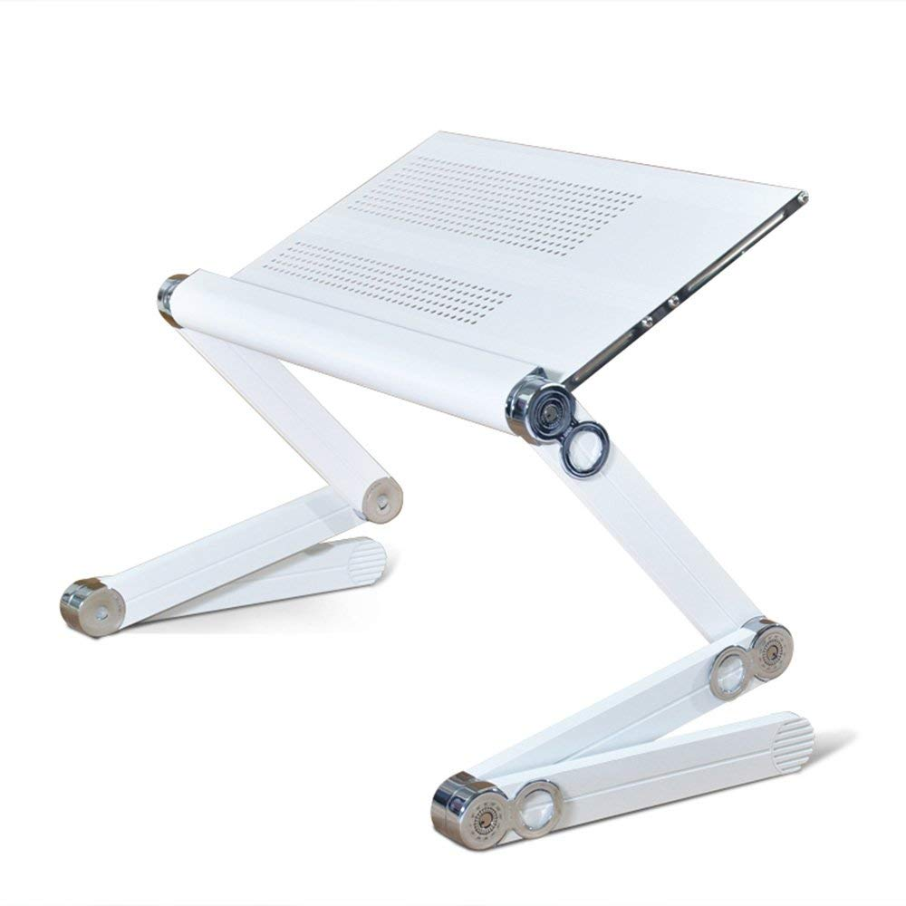 Stands DD Portable Laptop Table Foldable Laptop Desk Adjustable Computer Notebook Desk Folding Bed Sofa Table Book Holder With Mouse Board Tray -Convenient table (Color : White, Size : 52cm)