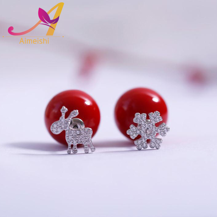 2017 Christmas Gifts 925 Sterling Silver CZ Pave Setting Stud 925 Sterling Silver Fawn Snow Flower Red Pearl Stud Earrings