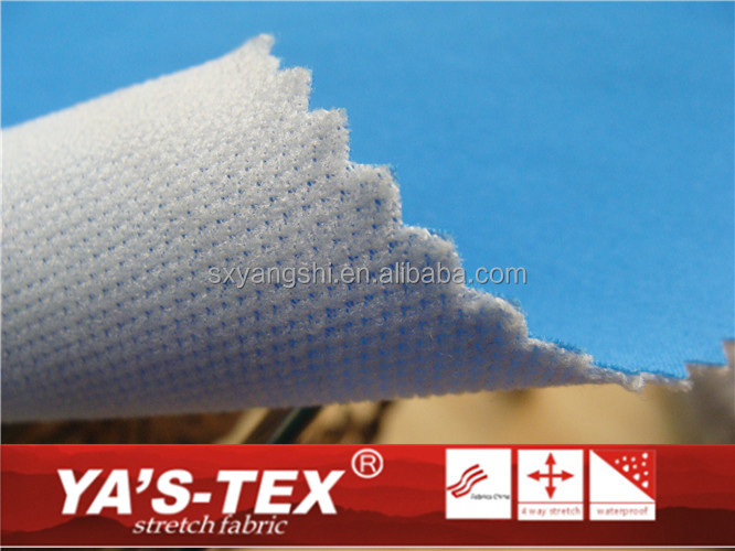 Polyester stretch waterproof breathable 4 way stretch bonded with mesh fabric used for sports fabric