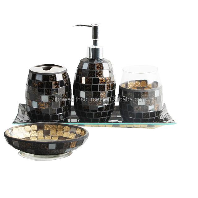 Black Glass Mosaic Bathroom Accessories Set