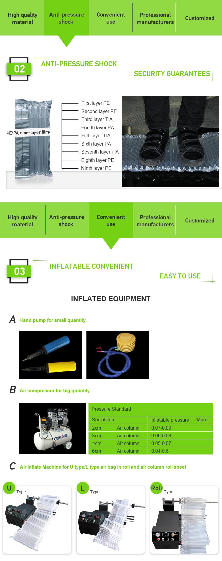 30X50 cm Gonfiabile di Plastica Della Borsa Bag Filler Cuscino D'aria Riempimento di Visualizzazione Borse