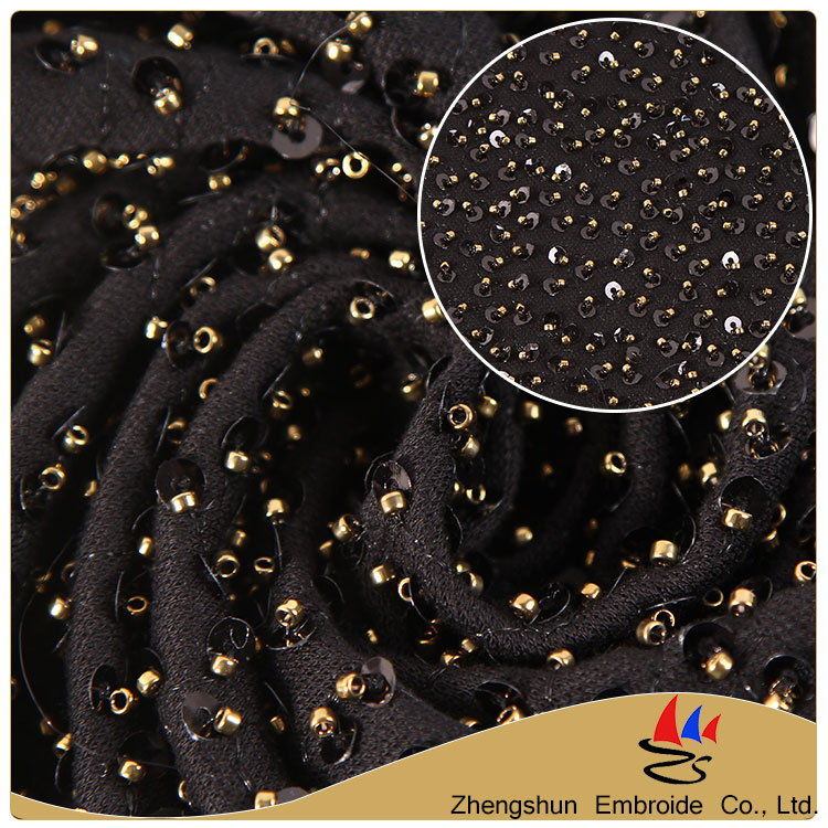 China New product polyester embroidery bridal pearls sequin beaded lace fabric