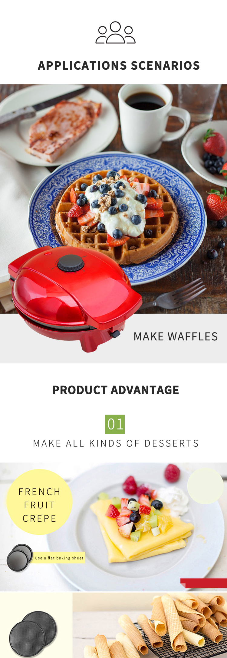 Multi-functional domestic 4 in 1 cake machine pancake machine waffle maker