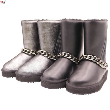 AN-CF-125 Free Samples Real Wool Russian Waterproof Genuine Leather Metal Chains China Cheap Boots