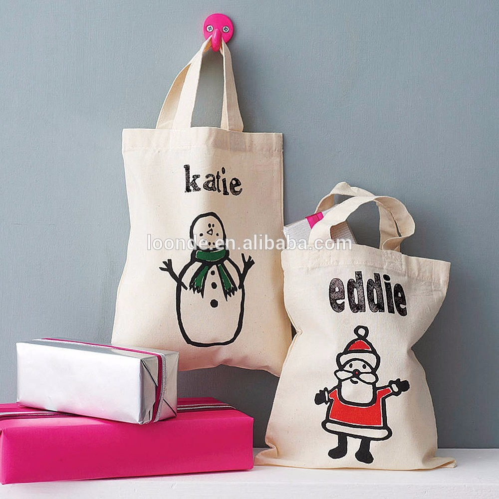 Personalised colorful soft cotton mini Christmas tote bag for shopper