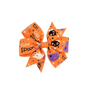 Halloween Grosgrain Ribbon Bows WITH Clip Ghost Pumpkin Baby Girl Pinwheel Hair Clips Hair Pin Accessories