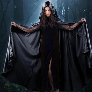 New Design Unisex Adult Long Satin Hooded Cloak Halloween Party Cape For Devil and Death Cosplay