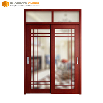 Blossom Cheer Plywood Red Wine Sliding Wood Door Closer Design In