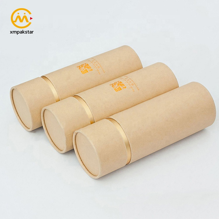High quality new style hot stamping cylinder box custom round brown kraft paper tube