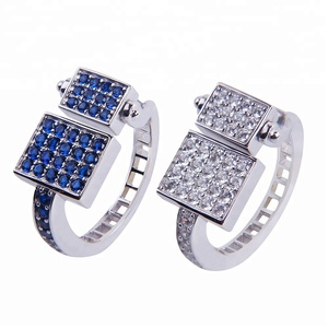 18K White Gold Plated Big Men's Silver Rings