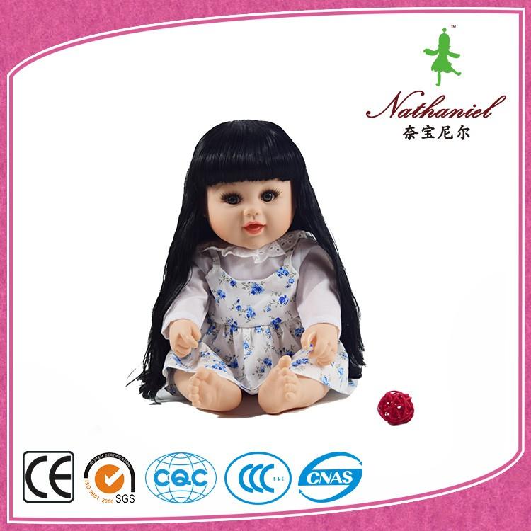 Long Black Hair Doll China Factory For Kids Cheap Cute
