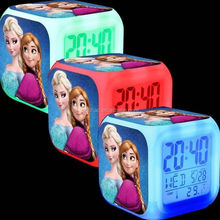 DIHAO Hot Movie Frozen LED Alarm clock Frozen digital clock 7 Colors Changing Alarm Clock