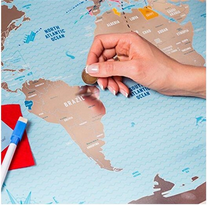 scratchable off world map large world travel map great scratchable world map gift for any travelers